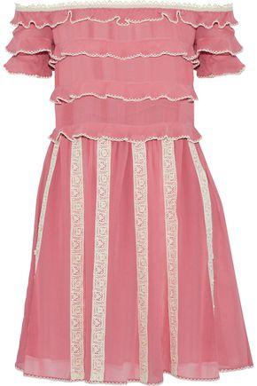 REDValentino Off-the-shoulder ruffled lace-trimmed silk-chiffon mini dress