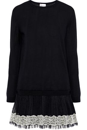 REDValentino Lace and point d'esprit-paneled wool mini dress