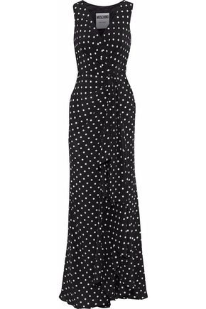 MOSCHINO Wrap-effect polka-dot silk crepe de chine maxi dress