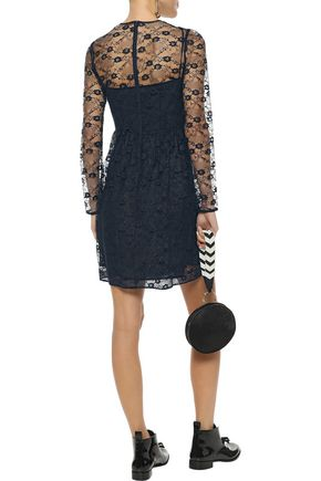 REDValentino Ruffle-trimmed pintucked lace mini dress