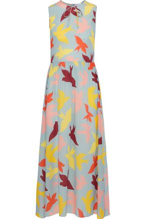 REDValentino Bow-embellished printed silk midi dress