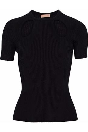 Drome DROME WOMAN CUTOUT RIBBED-KNIT TOP BLACK