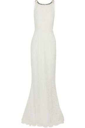 RACHEL GILBERT Lainey crystal-embellished guipure lace gown