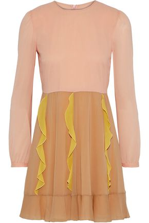 REDValentino Ruffle-trimmed silk-blend crepe de chine mini dress