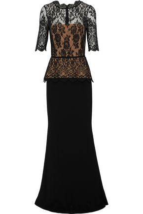 RACHEL GILBERT Evelyn lace and crepe peplum gown