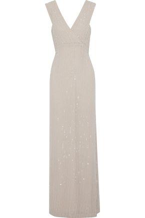 RACHEL GILBERT Talena wrap-effect embellished georgette gown