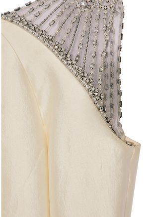 RACHEL GILBERT Natalie embellished organza-paneled silk and cotton-blend faille gown