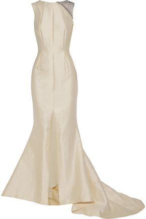 RACHEL GILBERT Natalie embellished organza-paneled silk and cotton-blend faille gown