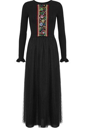 REDValentino Embroidered ribbed wool and point d'esprit maxi dress
