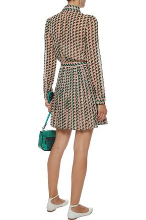 REDValentino Pleated printed silk-blend mini dress