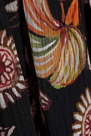 REDValentino Point d'esprit-paneled floral-print silk-georgette mini dress