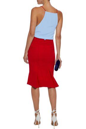 VIONNET Wrap-effect two-tone washed-silk blouse