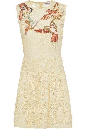REDValentino Embroidered cotton guipure lace mini dress