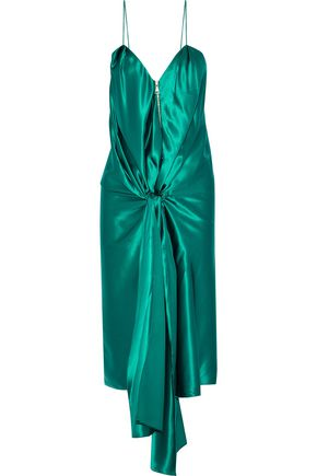 VIONNET Tie-front silk-satin dress