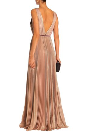 J.MENDEL Belted pleated metallic silk-blend gown