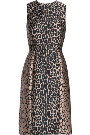 Pleated Paneled Jacquard Dress by J.Mendel