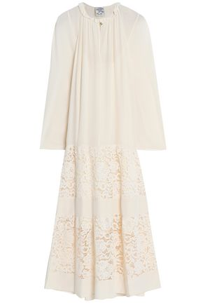 BAUM UND PFERDGARTEN Gathered crepe de chine and cotton-blend corded lace midi dress