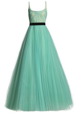 J.MENDEL Pleated velvet-trimmed tulle gown