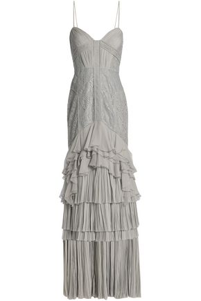 J.MENDEL Lace-paneled ruffled silk gown