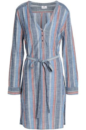 AG JEANS Belted striped cotton shirt dress