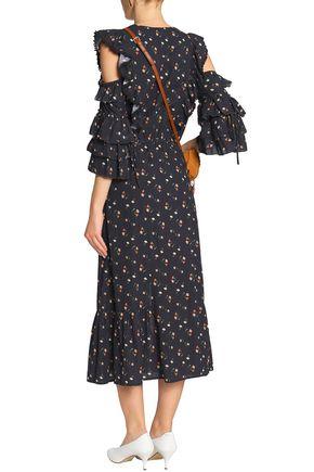 SEA Cutout floral-print cotton-gauze midi dress