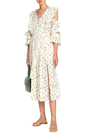 SEA Cutout floral-print cotton-gauze midi dress