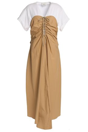 3.1 PHILLIP LIM Tie-front ruched cotton-poplin and jersey midi dress