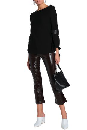 DROMe Leather-trimmed stretch-knit top