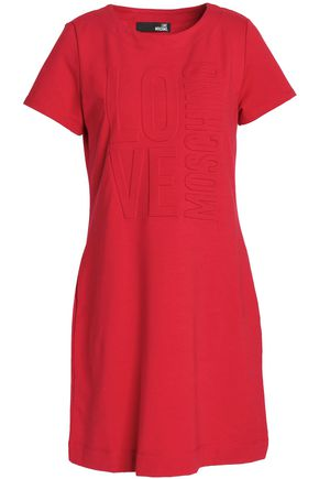 LOVE MOSCHINO Embossed French cotton-blend terry mini dress