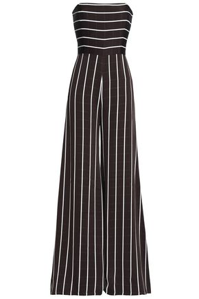 SAFIYAA Strapless striped satin-crepe jumpsuit