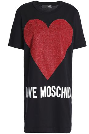 LOVE MOSCHINO Metallic printed cotton-jersey mini dress