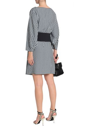 TIBI Belted gingham crepe dress