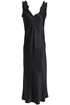 TIBI Ruffle-trimmed satin gown