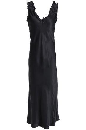 TIBI ラッフルトリム ツイル ミディスリップドレス