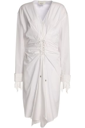 3.1 PHILLIP LIM Tie-front ruched cotton-poplin dress