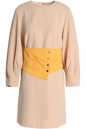TIBI Belted two-tone crepe mini dress