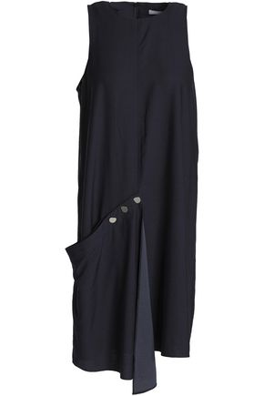 TIBI Asymmetric draped voile dress