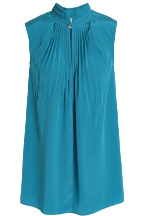 TIBI Pleated silk top