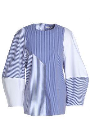 TIBI Paneled striped cotton-blend poplin blouse
