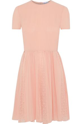 REDValentino Pleated point d'esprit-paneled crepe de chine mini dress