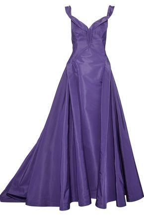 ZAC POSEN Off-the-shoulder silk-taffeta gown