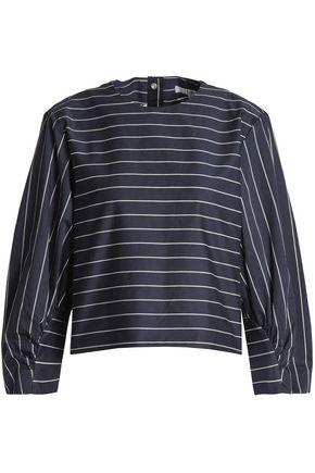 TIBI Striped cotton-poplin blouse