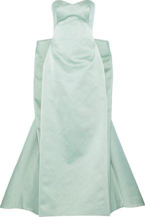 ZAC POSEN Strapless paneled satin gown