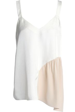 TIBI Two-tone crepe de chine-paneled twill camisole