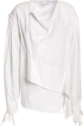 3.1 PHILLIP LIM Layered shirred cotton-poplin blouse