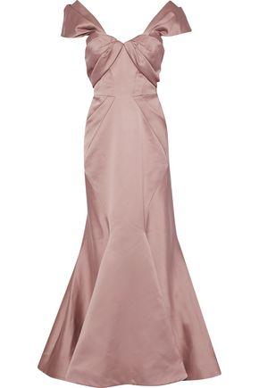ZAC POSEN Off-the-shoulder pleated duchesse satin gown