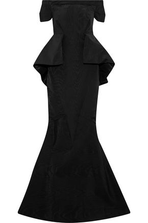 ZAC POSEN Off-the-shoulder faille peplum gown