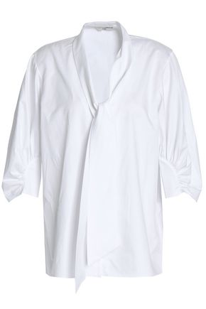 TIBI Pussy-bow gathered cotton-poplin blouse