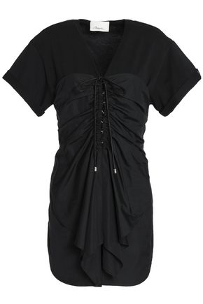 3.1 PHILLIP LIM Tie-front ruched cotton-poplin and jersey top