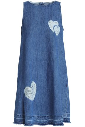 LOVE MOSCHINO Distressed denim mini dress